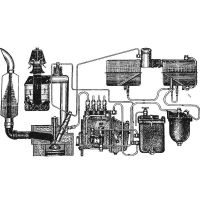 The power supply system, cooling, lubrication and exhaust gases