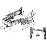 Frame and the front axle wheels